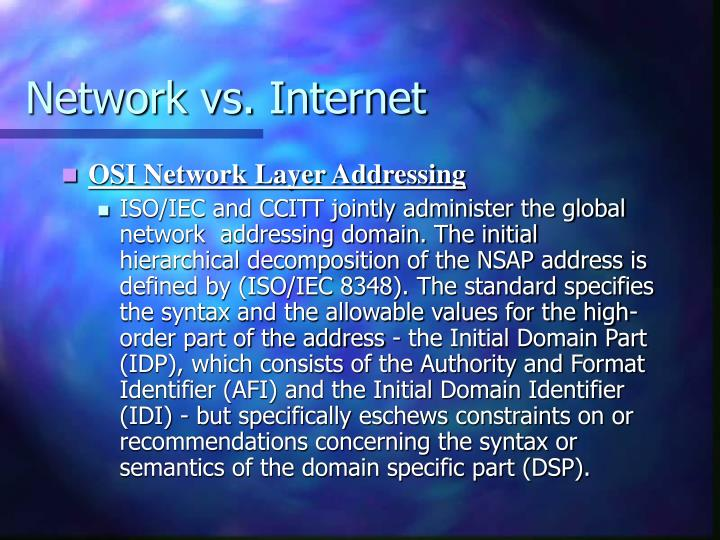 Network vs. Internet