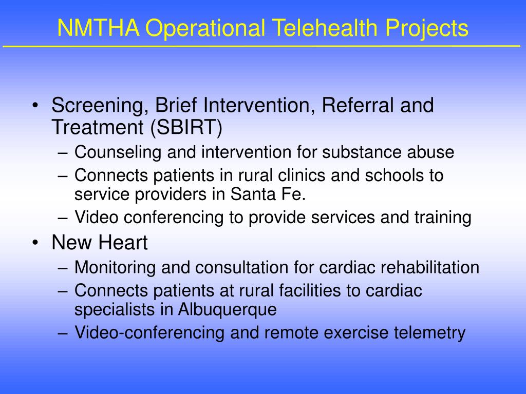NMTHA Operational Telehealth Projects