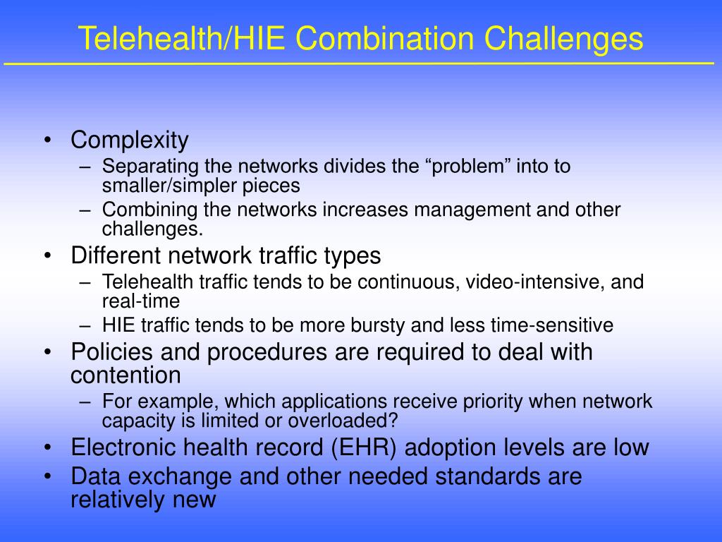 Telehealth/HIE Combination Challenges