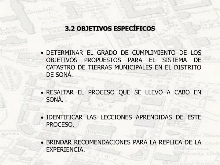 3.2 OBJETIVOS ESPECÍFICOS