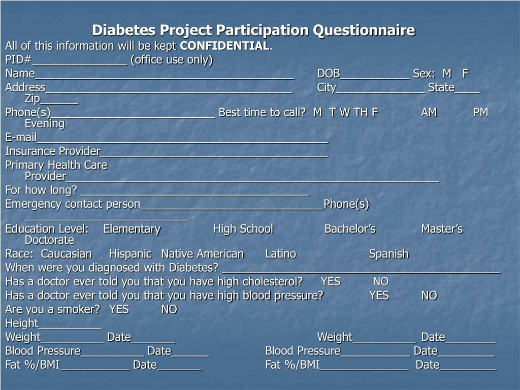 Diabetes Project Participation Questionnaire