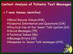 content analysis of patients text messages