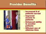 provider benefits