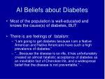 ai beliefs about diabetes
