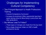 challenges for implementing cultural competency