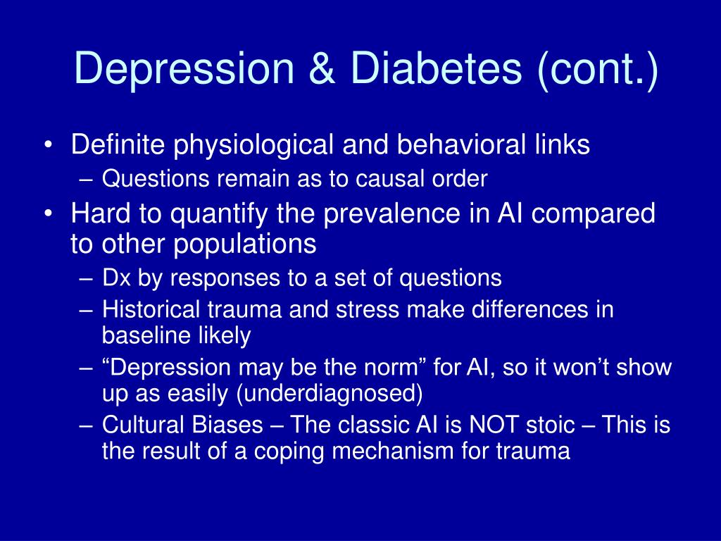 Depression & Diabetes (cont.)