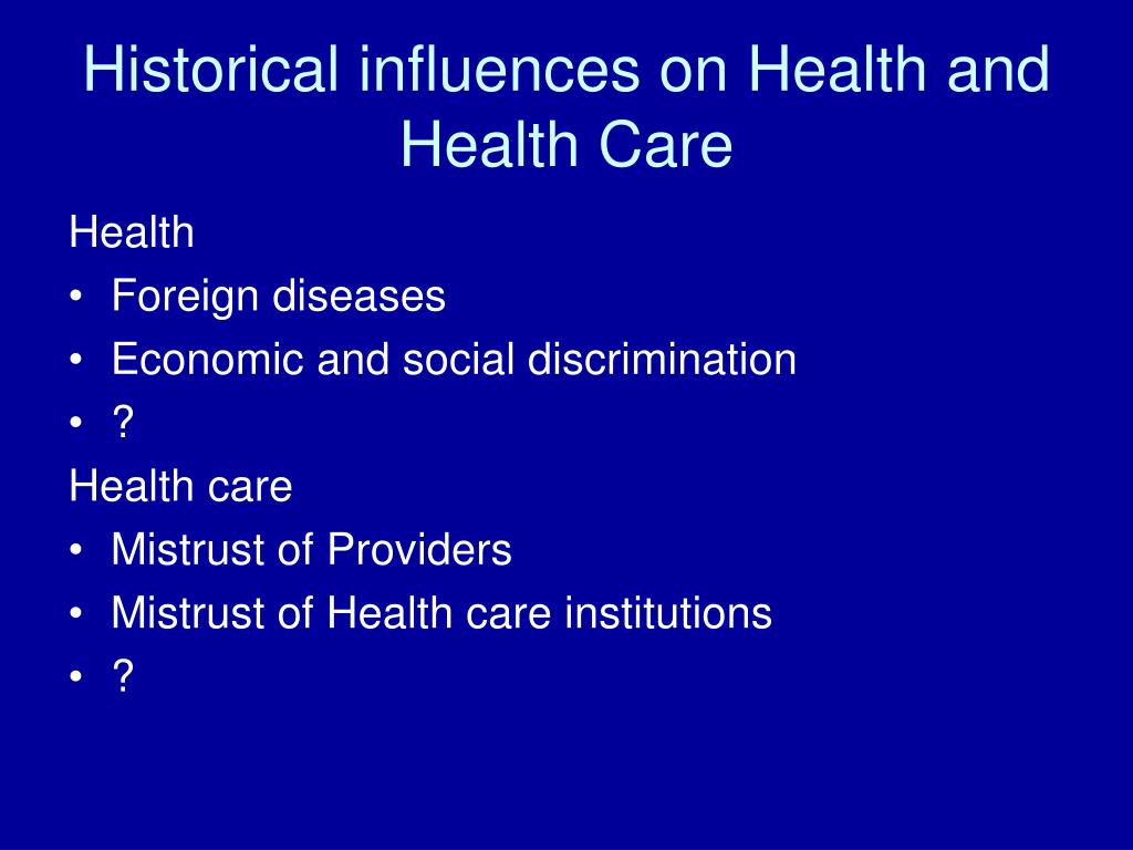 Historical influences on Health and Health Care