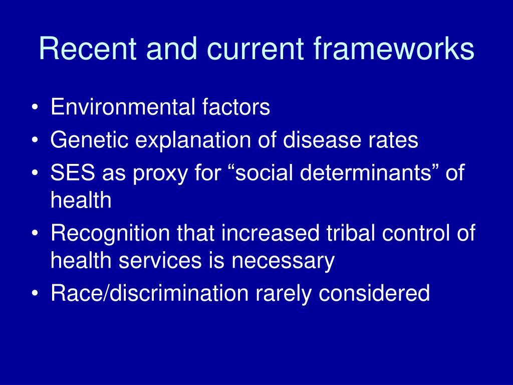 Recent and current frameworks