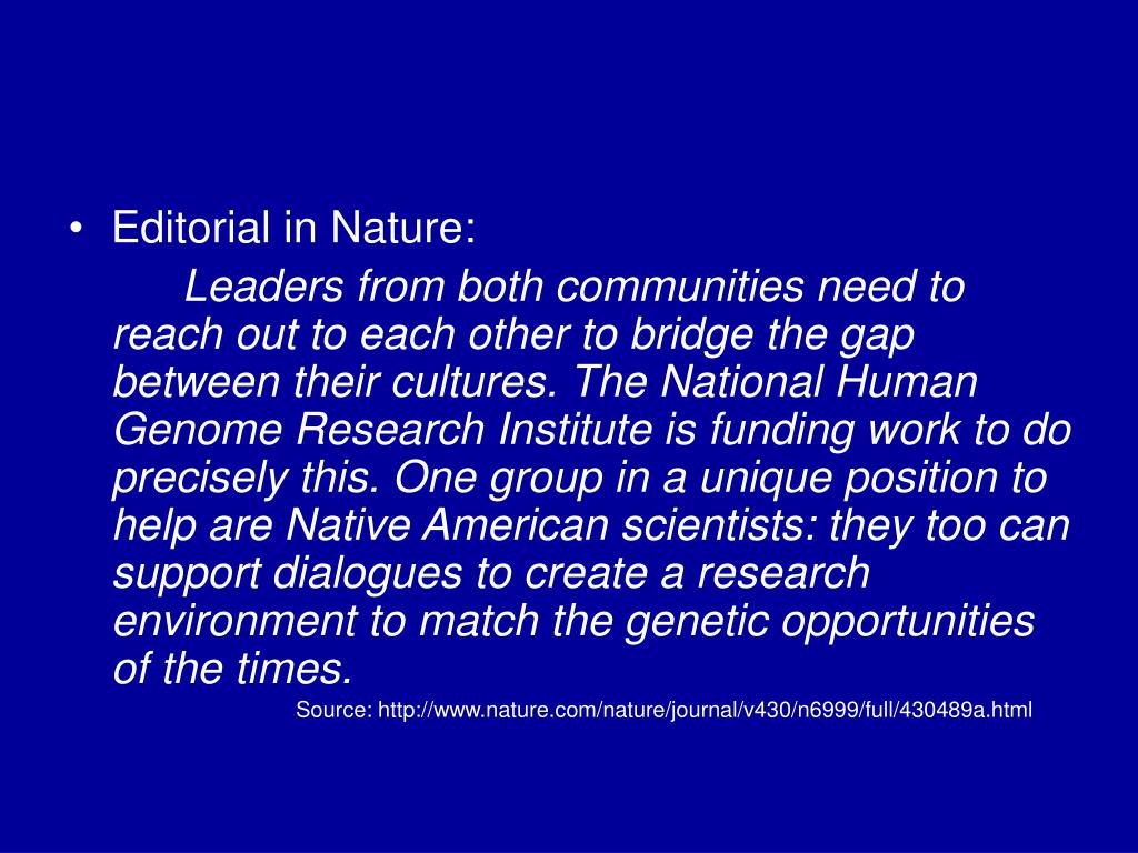 Editorial in Nature: