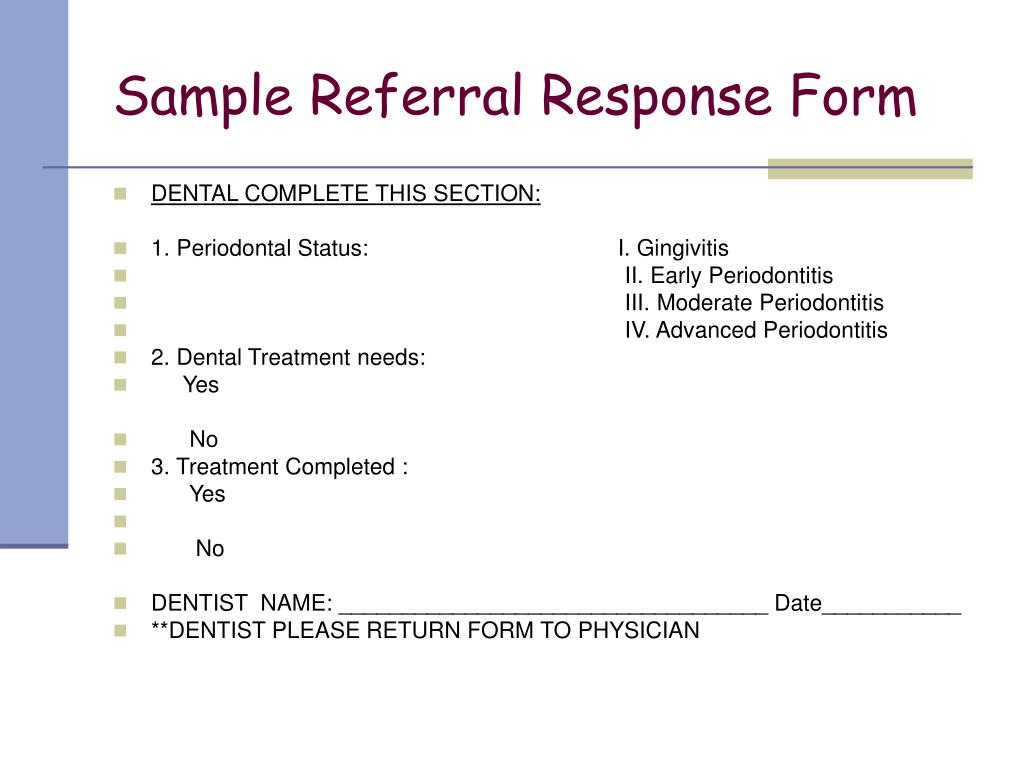Sample Referral Response Form