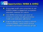 opportunities nhma ahrq