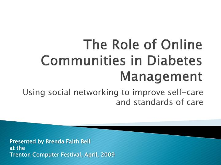 the role of online communities in diabetes management n.