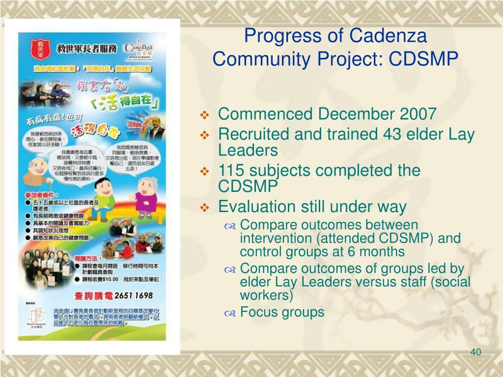 Progress of Cadenza
