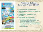 progress of cadenza community project cdsmp
