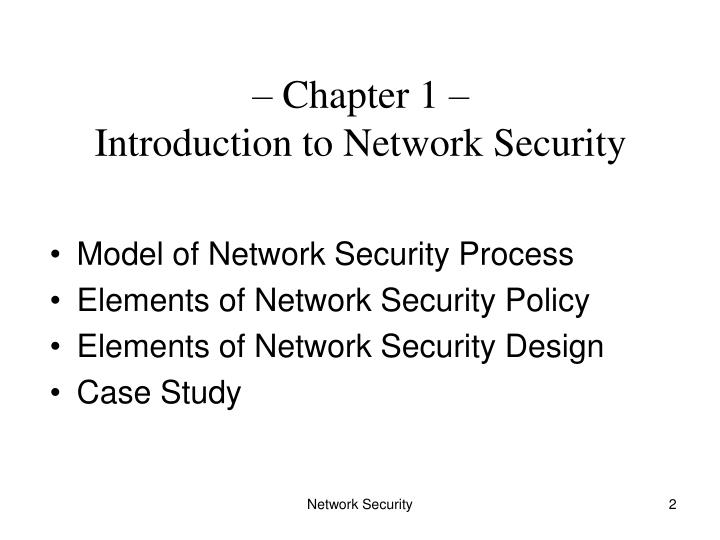 Chapter 1 introduction to network security
