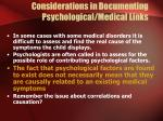 considerations in documenting psychological medical links