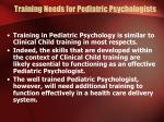 training needs for pediatric psychologists