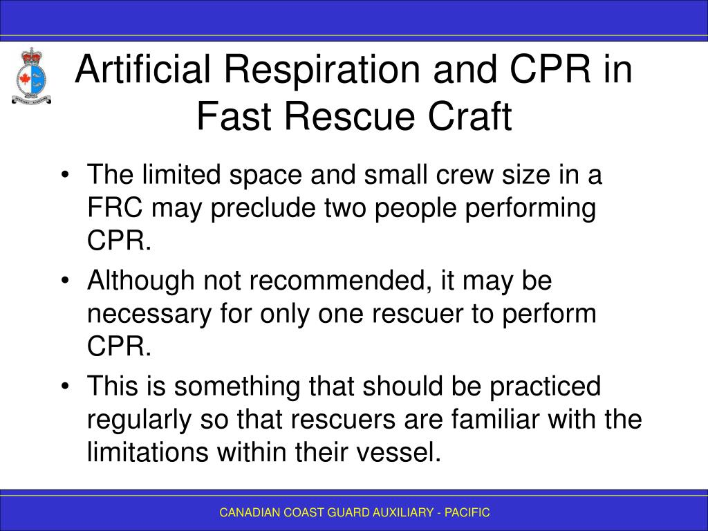Artificial Respiration and CPR in Fast Rescue Craft