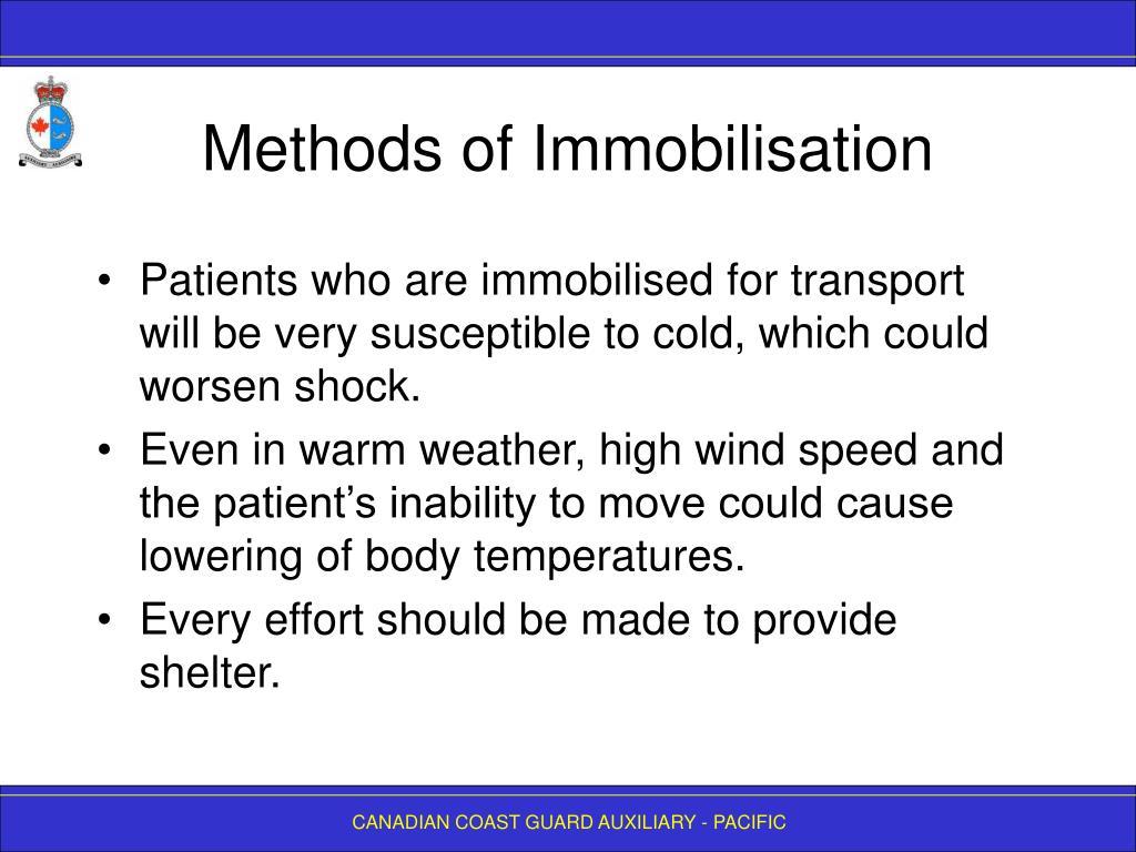 Methods of Immobilisation