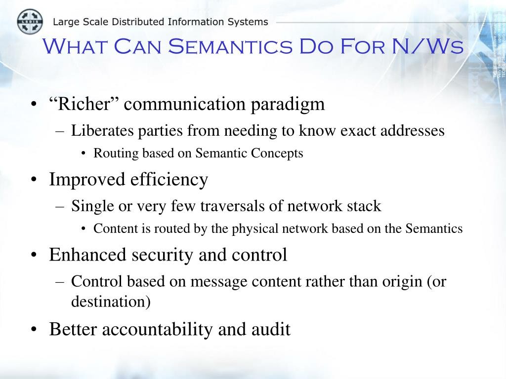 What Can Semantics Do For N/Ws