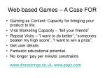 web based games a case for
