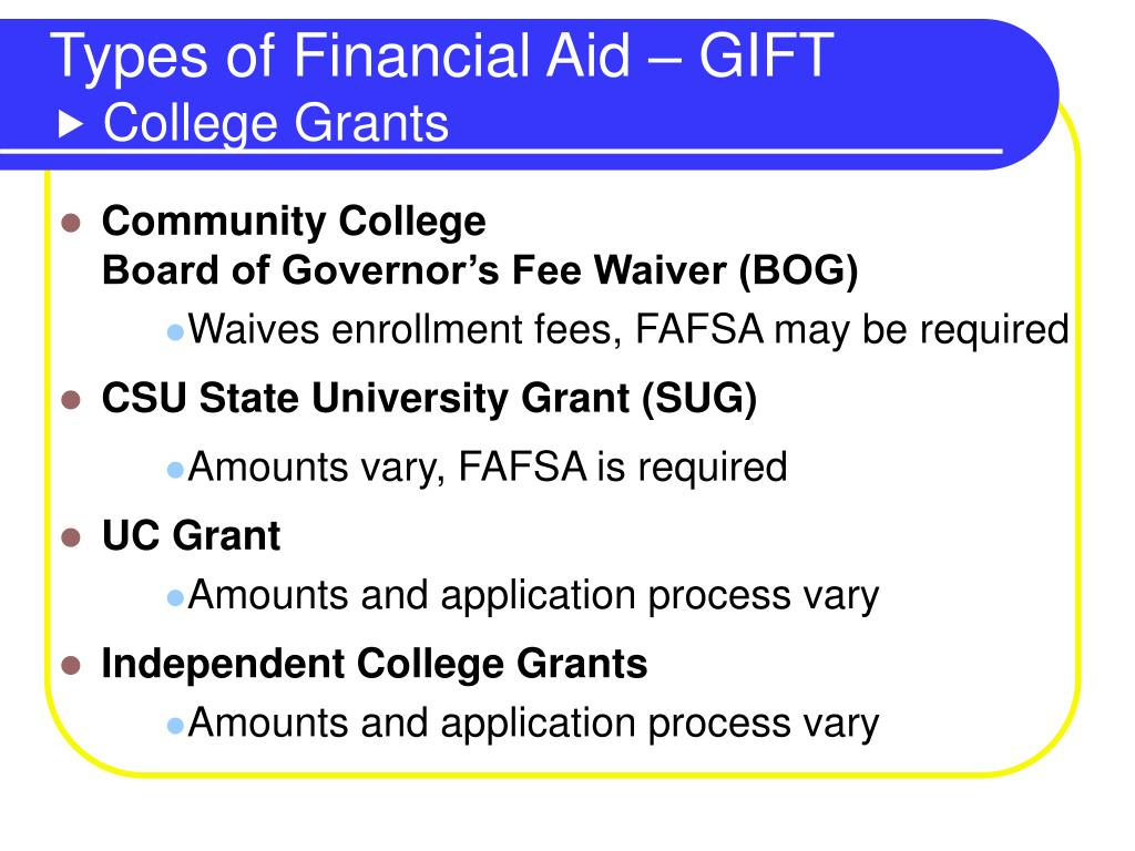 Types of Financial Aid – GIFT