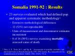 somalia 1991 92 results