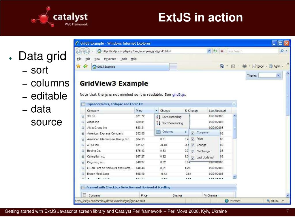 PPT - Getting started with ExtJS and Catalyst PowerPoint