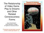 the relationship of video game play to dreams and other related consciousness forms