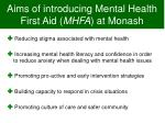 aims of introducing mental health first aid mhfa at monash