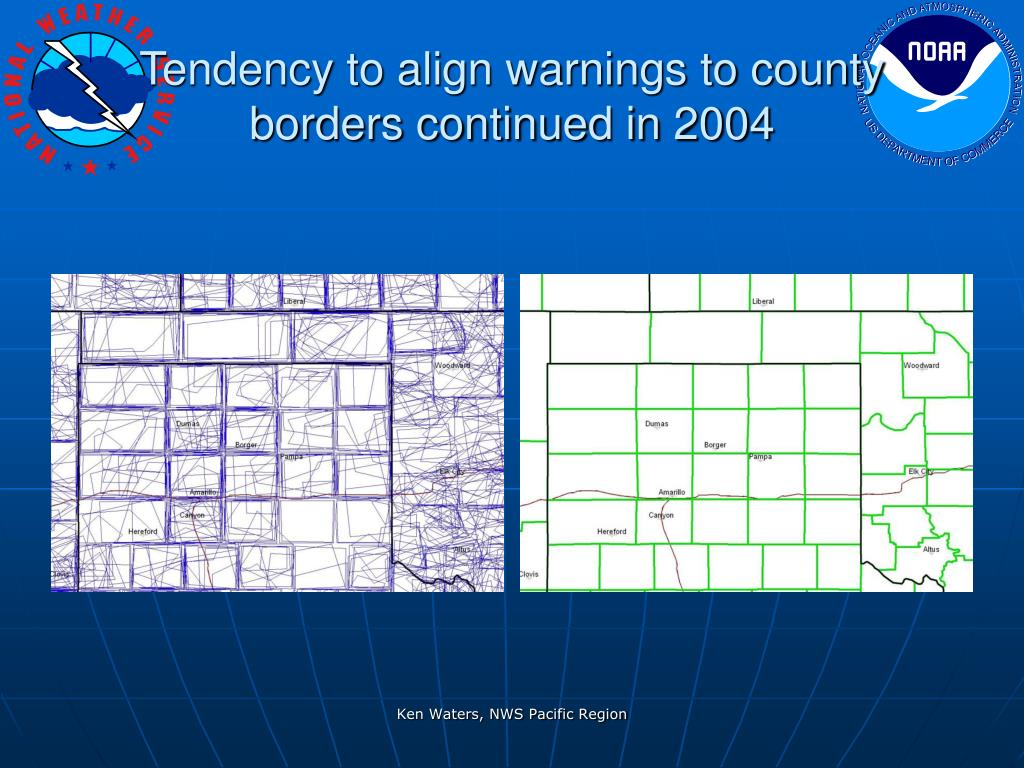 Tendency to align warnings to county borders continued in 2004