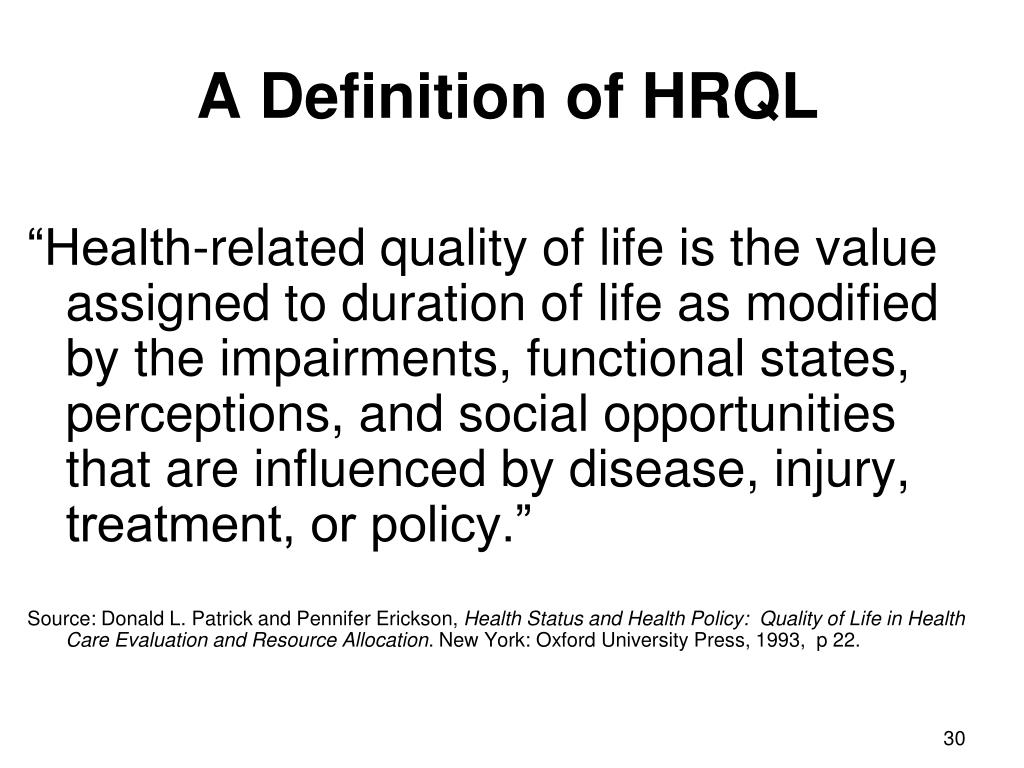 A Definition of HRQL