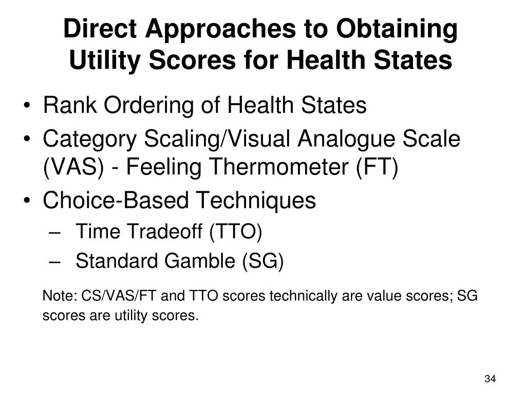 Direct Approaches to Obtaining Utility Scores for Health States