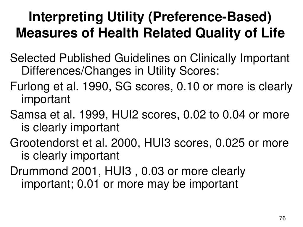 Interpreting Utility (Preference-Based) Measures of Health Related Quality of Life