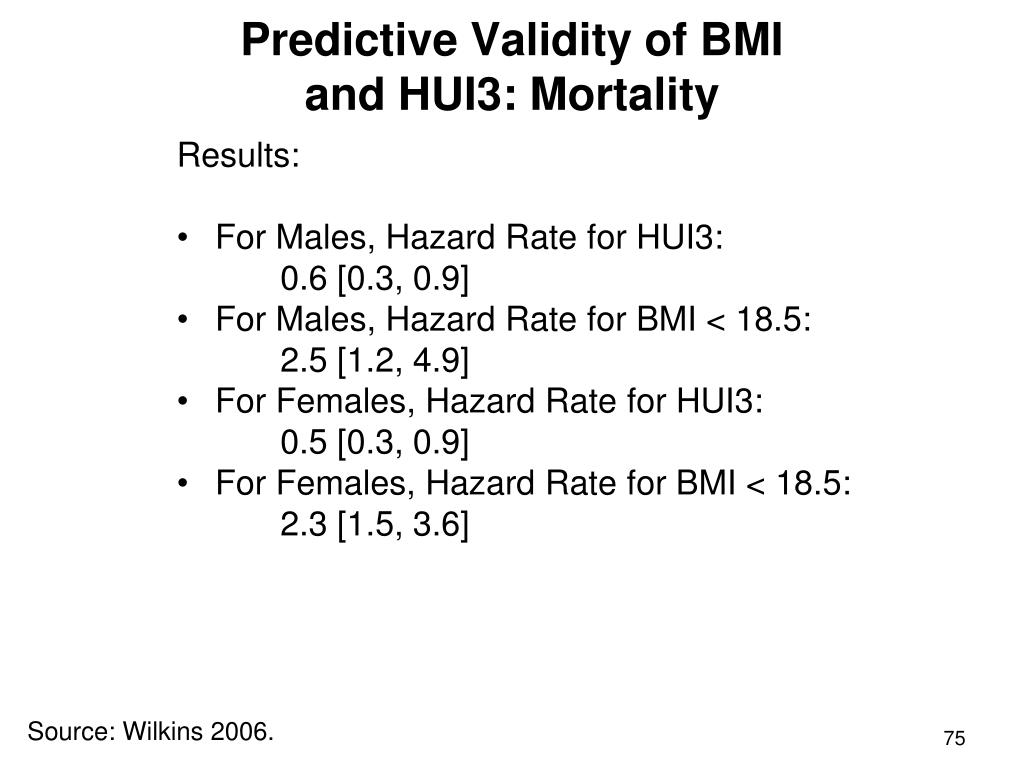 Predictive Validity of BMI and HUI3: Mortality