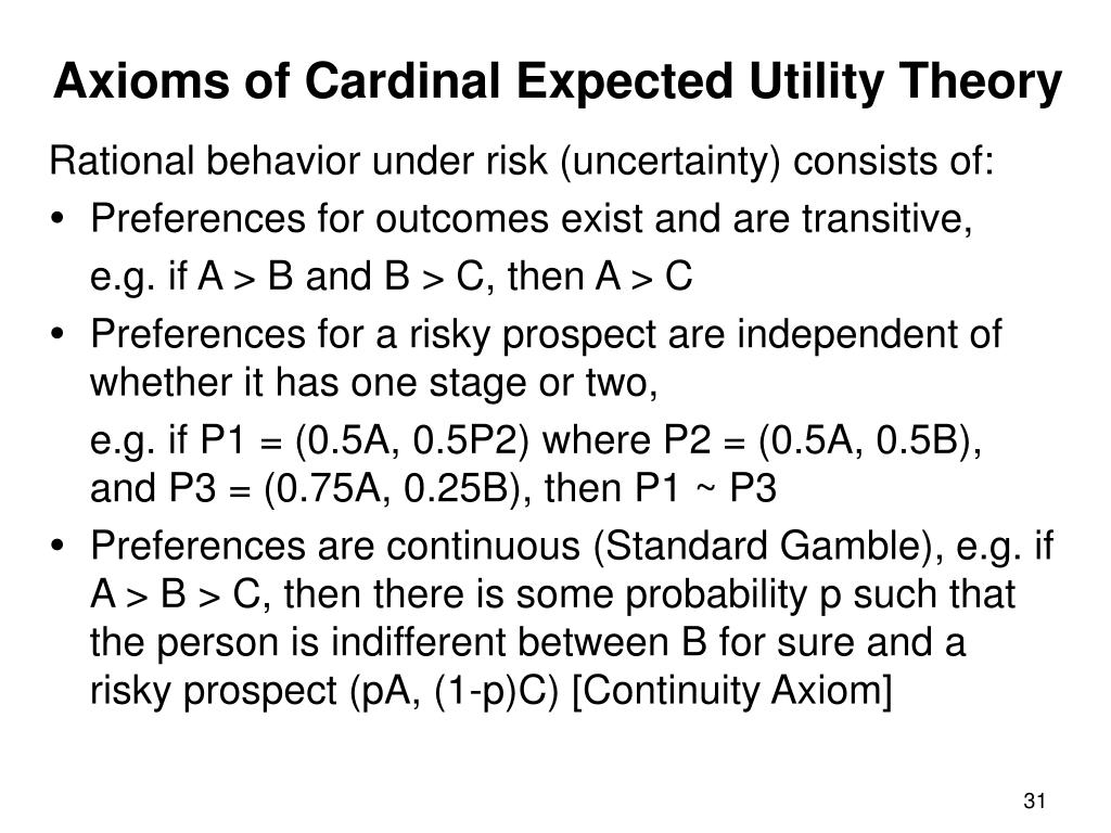Axioms of Cardinal Expected Utility Theory