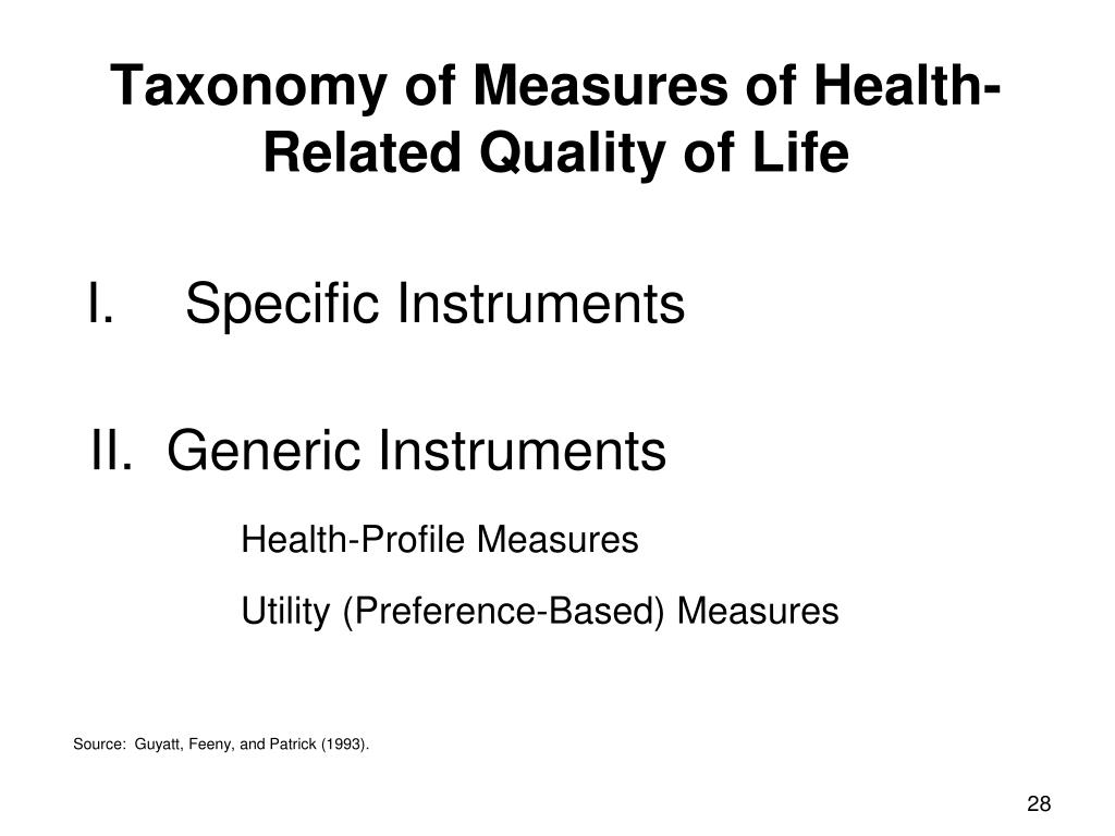 Taxonomy of Measures of Health-Related Quality of Life