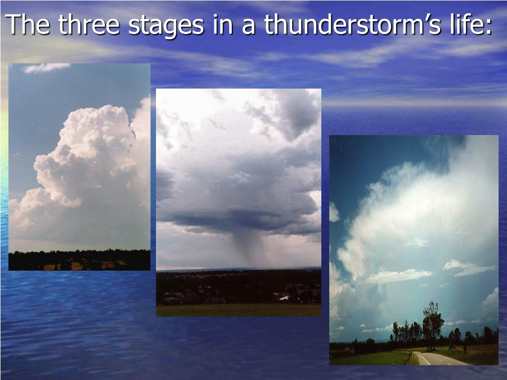 The three stages in a thunderstorm's life: