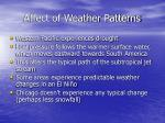 affect of weather patterns