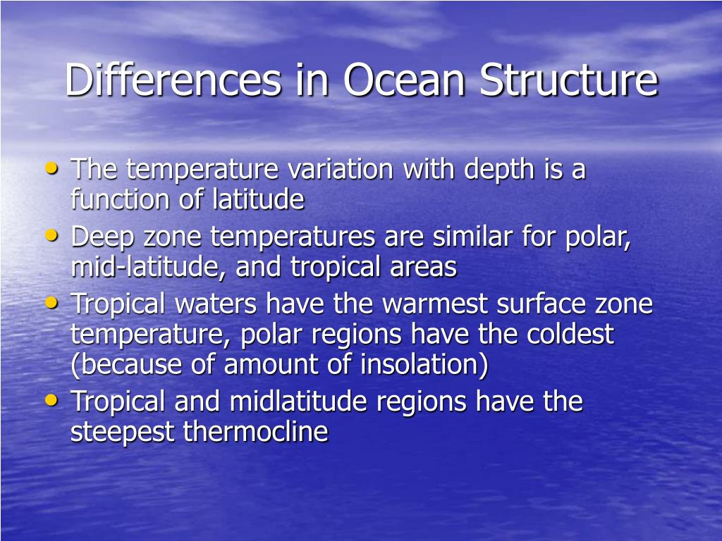 Differences in Ocean Structure