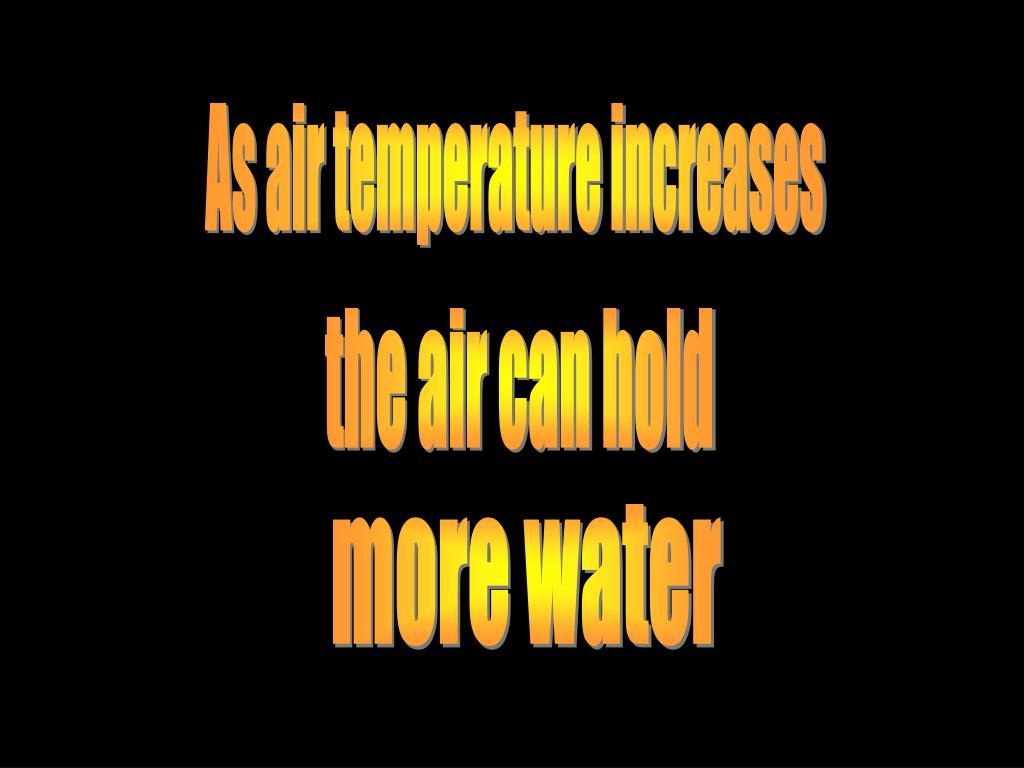 As air temperature increases