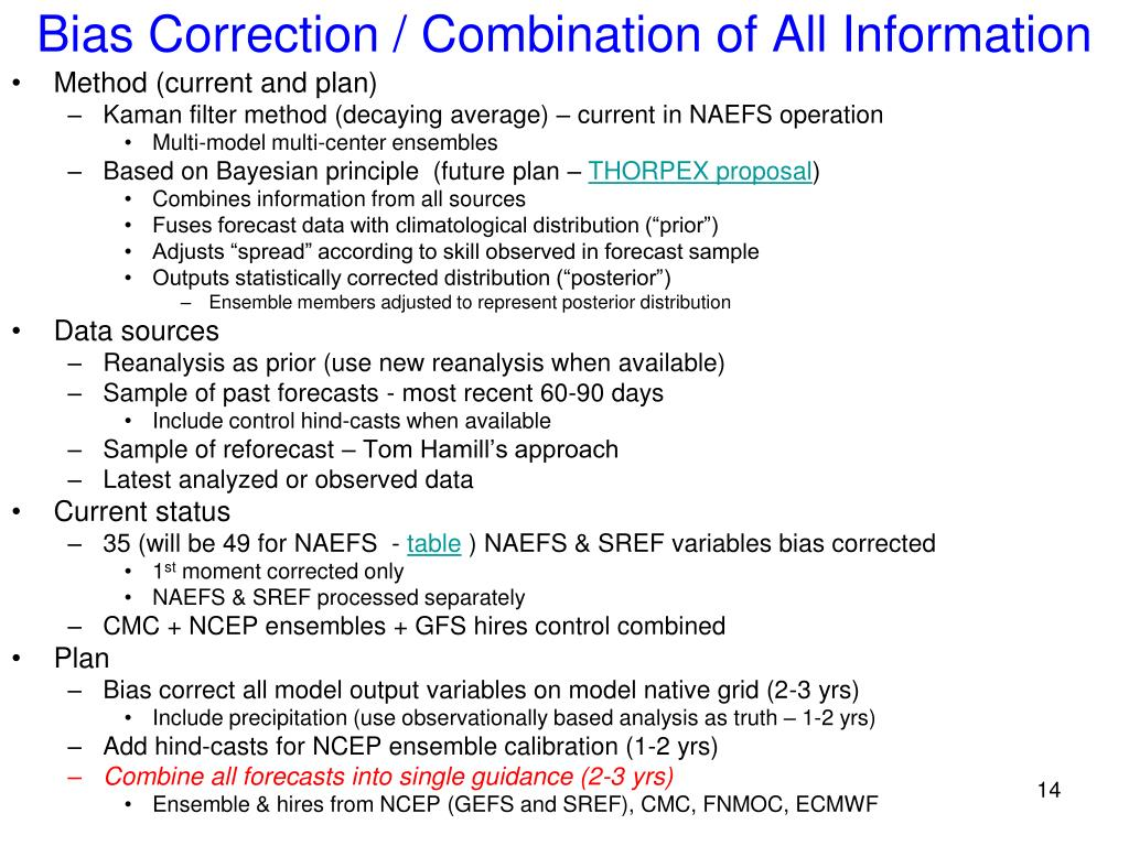 Bias Correction / Combination of All Information