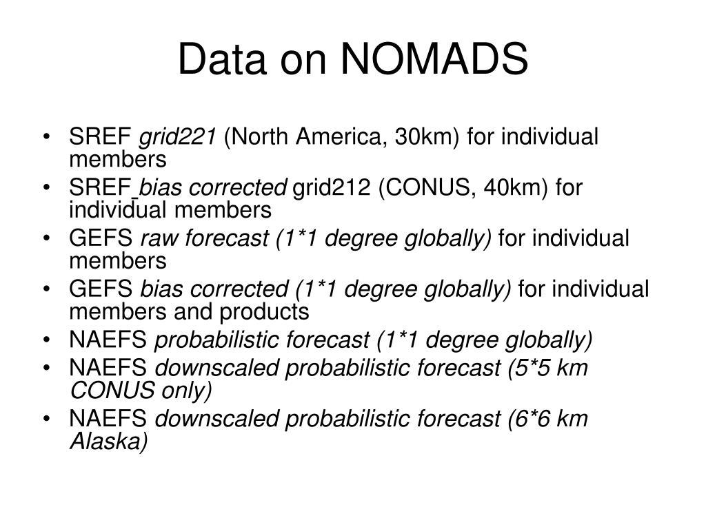 Data on NOMADS