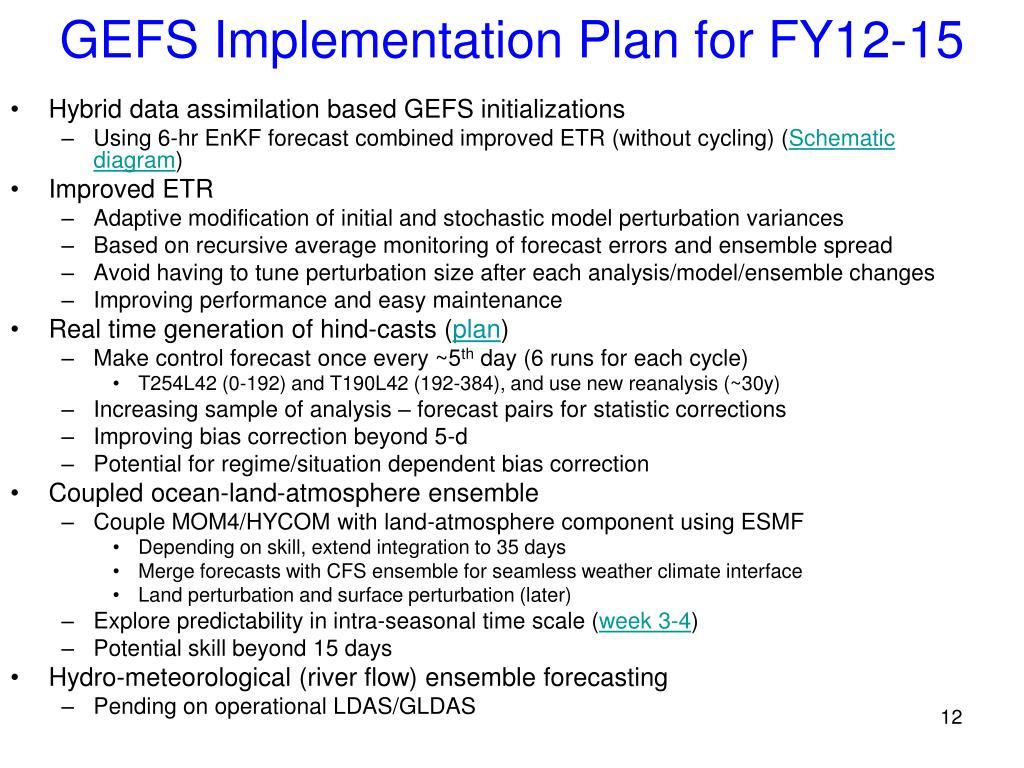 GEFS Implementation Plan for FY12-15