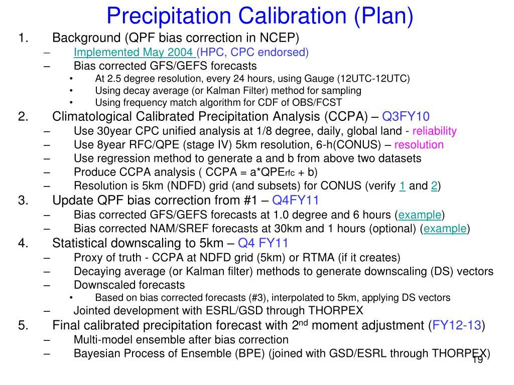 Precipitation Calibration (Plan)