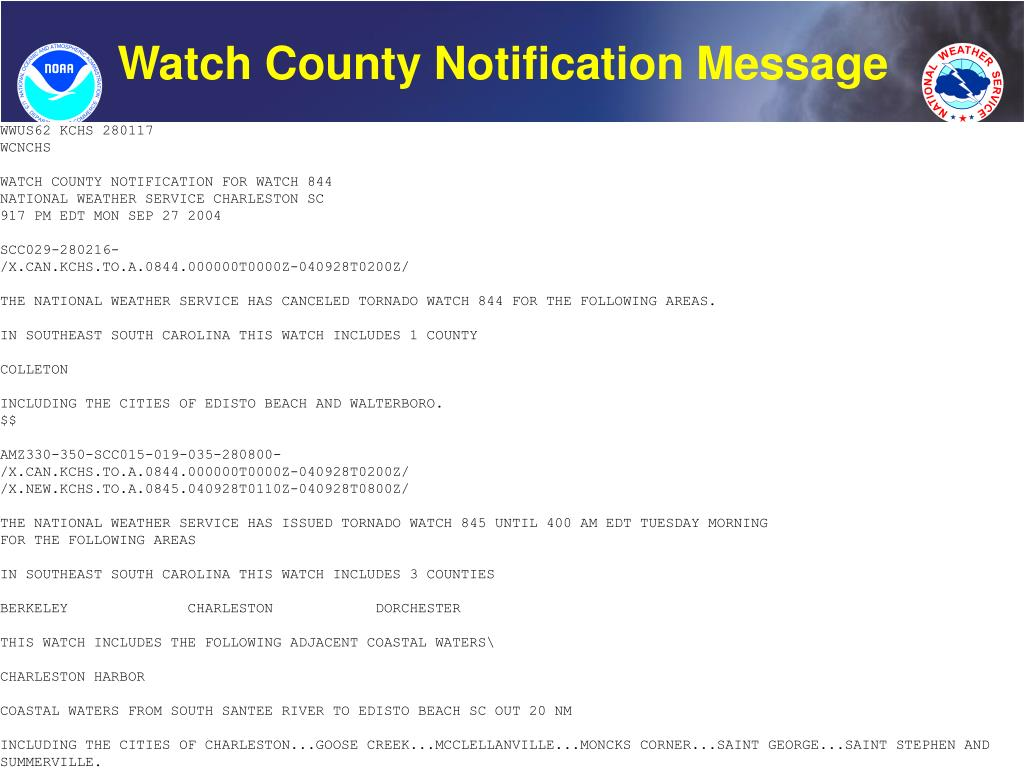 Watch County Notification Message