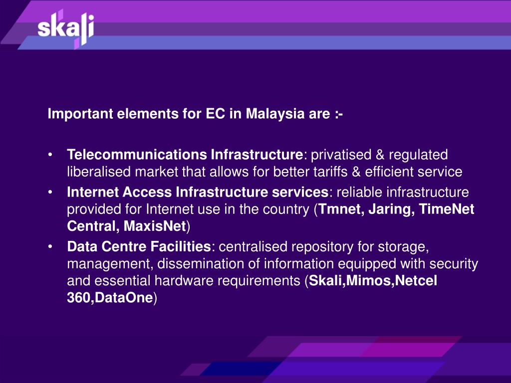 Important elements for EC in Malaysia are :-