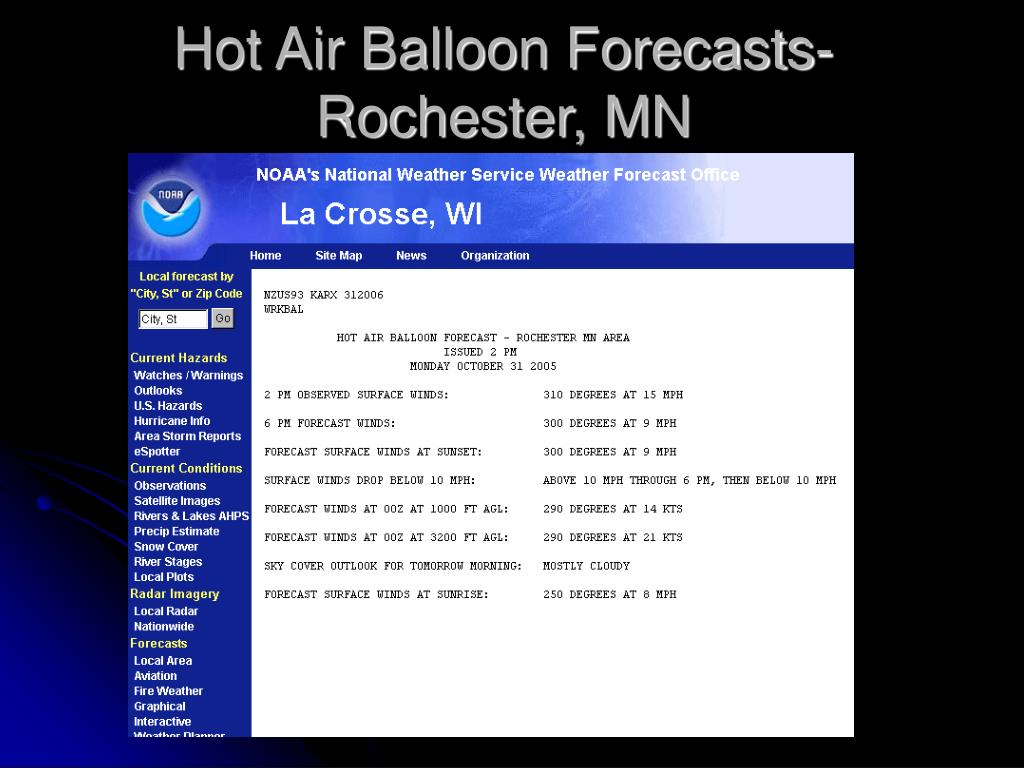 Hot Air Balloon Forecasts-Rochester, MN