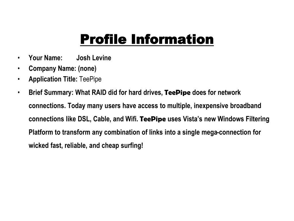 profile information l.