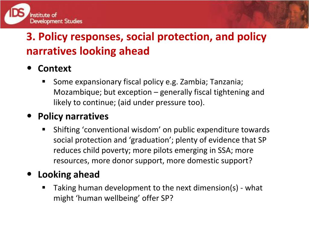 3. Policy responses, social protection, and policy narratives looking ahead